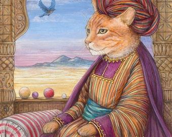 Maki CAT Renaissance animal portrait limited edition print emir feline orange ginger tiger cat