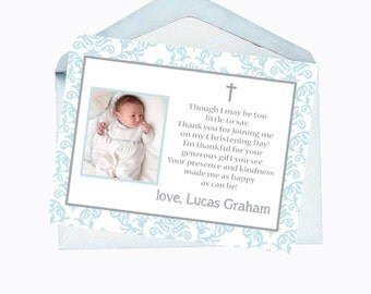 Printable Flat Thank You Note Card/ Baby Boy Christening or Baptism Thank You Card