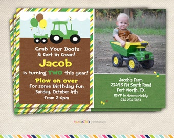 Green Tractor Birthday Party Invite and Thank You Cards - Printable Invitations.