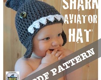 PDF CROCHET PATTERN - Shark Aviator Hat - 0-3 Month, 6-12 Month, 12-18 Month, 2-4 Year, Child Large Sizes