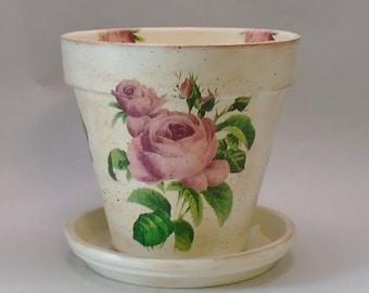 "Handmade Decoupage Terra Cotta Clay Flower Pot, Vintage Pink Roses, 8.25"""