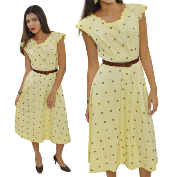Vintage 50s Sue Mason Jr. by Saba of California Polka Dot Full Skirt House Day Dress