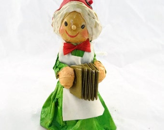 Vintage Paper Mache Lady Gnome Elf Christmas Ornament Vintage Christmas Ornament