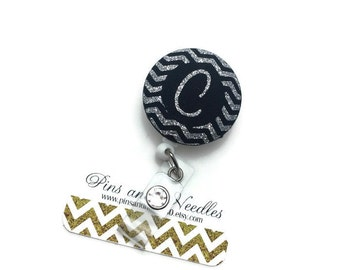 Monogram ID Badge Reel - Retractable Badge Reel - Cute Id Badge Reels - Fabric Badge Holder - Fabric ID Badge Reel - Initial ID Badge Reel