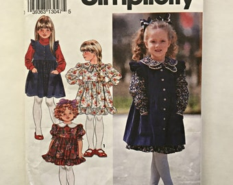 Simplicity 8021 Pattern for Child's Dress and Pinafore - UNCUT - Sizes 2-3-4