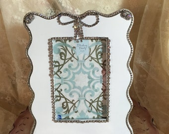Gorgeous Picture Frame With Vintage Rhinestones And Swarovski Crystals Holds a four by six Photo
