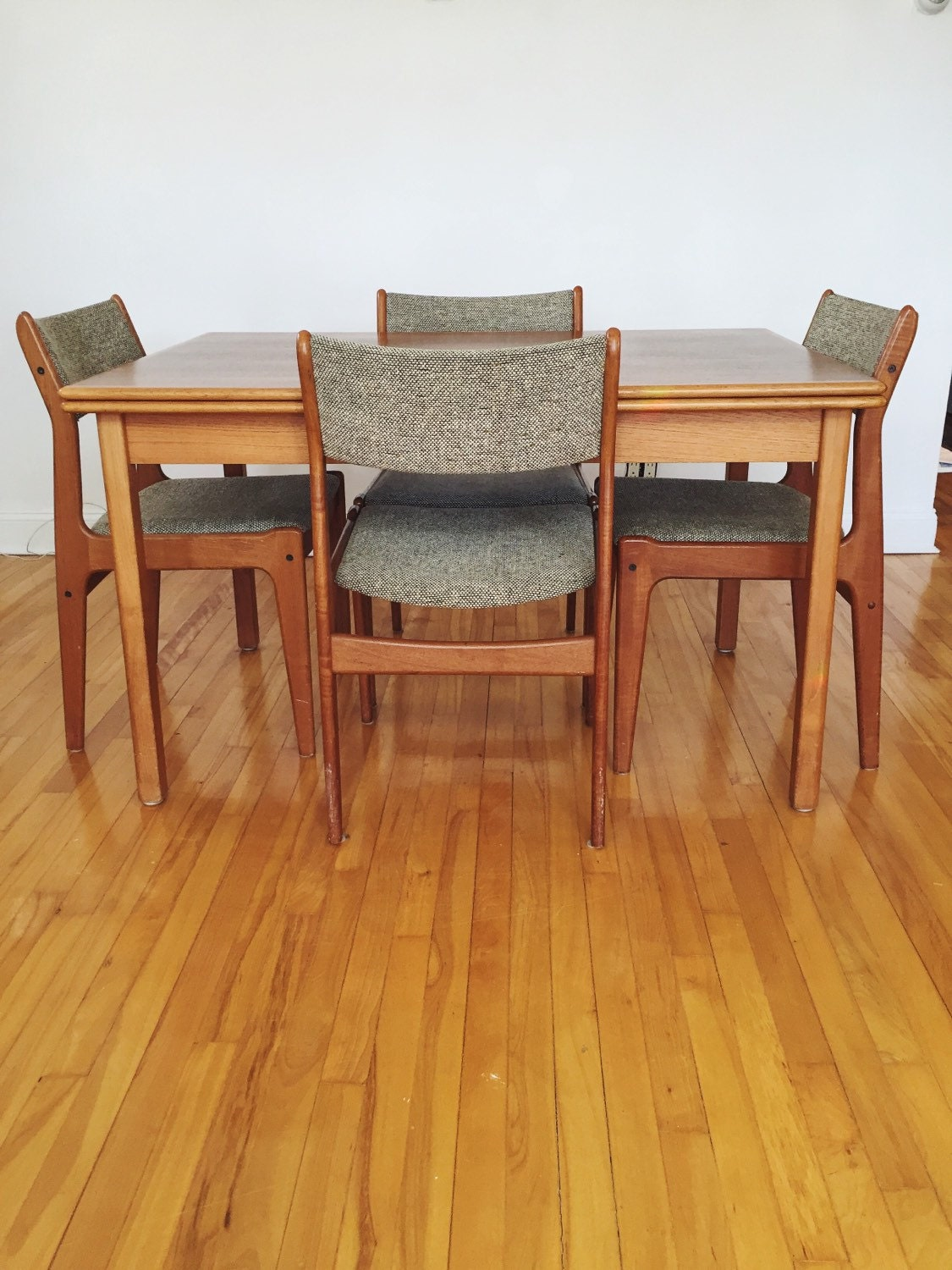 danish modern teak dining table and chairs table with leaf