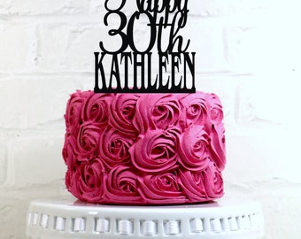 Happy 30th Birthday Cake Topper Personalized with Name and Age