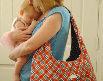 Red and Blue plaid Diaper bag