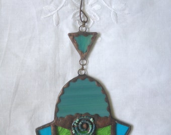 HANDMADE Mini HAMSA HAND Blue and Green Colors with Beads-Filigree. Ethnic Tiffany Stained Glass,Wall Hanging,Original Art Decor