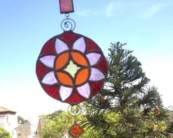 HANDMADE MANDALA  Yellow,Pink,Green,Orange and Red Colors.Ethnic Stained Glass,Wall Hanging,Tiffany art,Original design by PAULA,Unique Gift