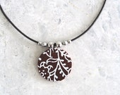 Leather Pendant Necklace, Bridesmaid Gift, Leather Jewellery, Stainless Steel Beads