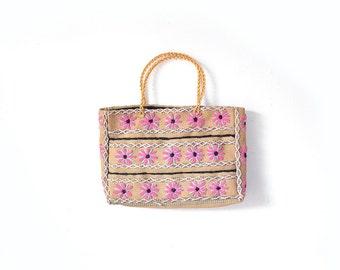 Straw Purse, Hippie Tote, Hippie Bag, Boho Bag, Boho Purse, Daisy Sunflower Bag, Floral Bag, Handbag