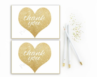 Baby shower thank you cards printable gold and white gender neutral baby shower thank you card gold hearts digital file instant download diy