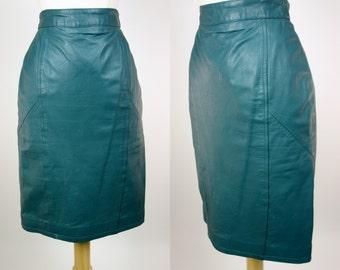 1980s leather skirt, teal high waist pencil skirt, rocker new wave, XS, Chia