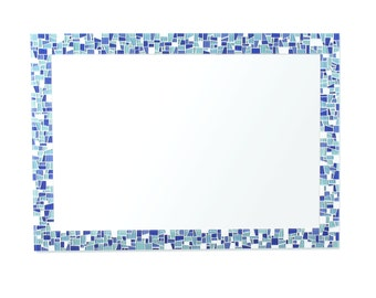 Beach Sea Glass Inspired Blues Mosaic Decorative Bathroom Wall Mirror, 4 Sizes Available