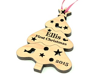 Wood Christmas Ornament - Personalized Wooden Ornament for a Baby or Older Children - Heirloom Christmas Gift - Eco-Friendly Favors - Decor