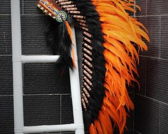 Medium  Orange  Feather Headdress (36  inch long )/ war bonnet.