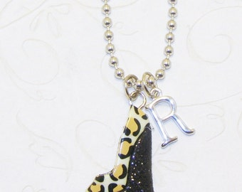 Cheetah Print High Heel Stiletto Necklace With Initial, Cheetah High Heel Jewelry, Stiletto Jewelry