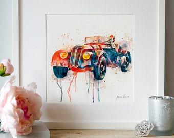 BMW Vintage car Old cars Watercolor Digital art Digital painting Automobile Vintage Convertible cars Watercolor cars Illustrations Printable