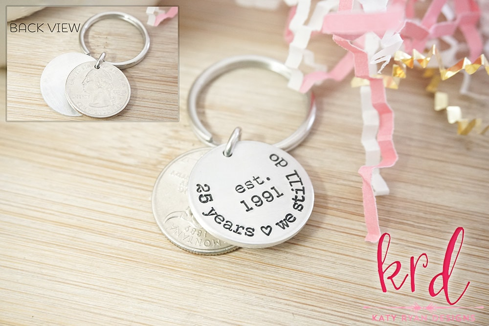 25th Anniversary Gifts For Men: 25th Anniversary Coin Key Chain