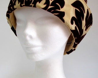 Gold and Burgundy Brocade Cloche Hat