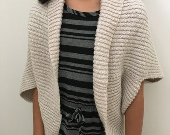 Knitted Reversible Twisted Cable Rib Shrug