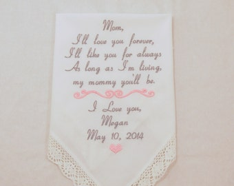 Hankerchief Wedding Gift for Mother of the Bride Embroidered Personalized Handkerchief for Mom custom Hankerchief Keepsake Napa Embroidery