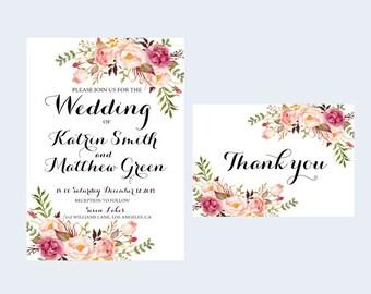 Printable invitation, Blush invitation, Floral Rsvp card, Invitation kit, Pink invitation, Rustic invitation RSVP, Ivory invitation, Ashley