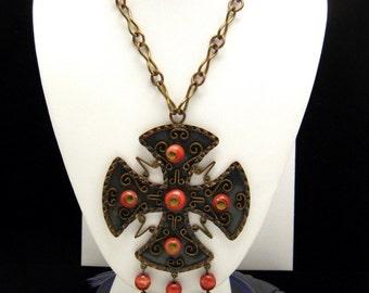 Fabulous Mexico Brass Copper Necklace Salmon Dyed Onyx Maltese Cross Dangles VTG