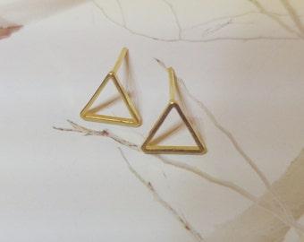 Triangle stud earrings, Gold triangle stud earrings, Hollow triangles studs, Triangles earrings, Gold filled  stud earrings, Geometric studs