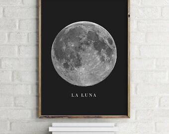 La Luna Moon Printable Wall Art Digital Print - Modern Contemporary Download (various sizes) Gallery Wall Print