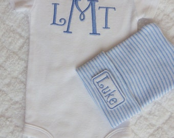 Baby Boy Coming Home from the Hospital. Monogram Bodysuit. Hospital Hat with Name. Coming Home from Hospital. Newborn Baby Boy Outfit