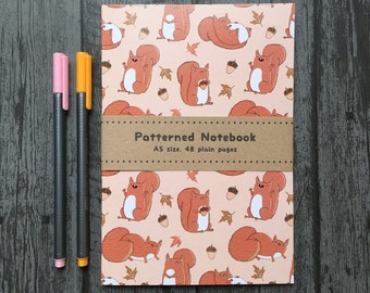 Red Squirrels Cute Chubby Woodland Animal Squirrel Patterned A5 Paperback Notebook - Lined or Plain Pages
