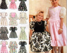 Simplicity 8754, Little Girls Fancy Dress, Gathered to Bodice at Shaped Waistline, Long or Short Puff Sleeves, Flounced Hem, Sizes 3, 4,5, 6