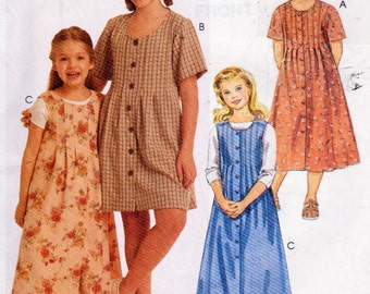McCalls 8296, Girl's Size, 7,8 and 10 ,Dress and Jumper Sewing Pattern, Front and Back Pleat Detailing and Front Button Closure, Midi dress