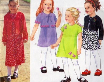 Butterick 6726, Girls Size 2 to 5, Dress and Short Cardigan Pattern, Front Tie Cardigan, Raised Waist Dress, Short Sleeves, A Line Dress