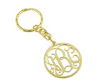 "Monogram key chain. 0.8"" monogram key chain. Personalized key chain. gold key chain. gold monogram key chain."