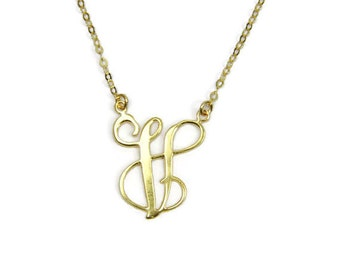 "One letter necklace. Initial necklace. Gold initial necklace. 1"" initial necklace. Personalized jewelry. Initial jewelry. Gift for her."