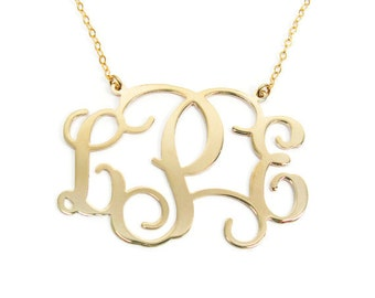 "Monogram Necklace. Gold plated brass 0.8"" monogram necklace. Personalized monogram necklace. Gold initial necklace. Monogram gold necklace."