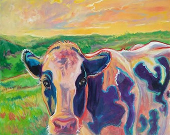 Original acrylic canvas painting 'Morning Cow'   cattle cow rodeo livestock