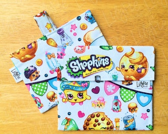 Shopkins Reusable Sandwich Bag & Reusable Snack Bag Set - Velcro - ECOfriendly - Food Safe - Dishwasher Safe - Back to School