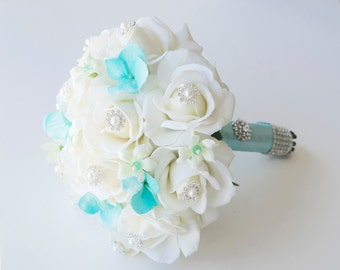 Spectacular Ivory and Turquoise Aruba White Jewel Wedding Bouquet - Pin Crystal Jewel Bride Bouquet - Rhinestones
