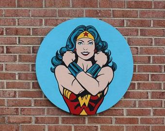 Hand Painted Wonder Woman Art on Wood