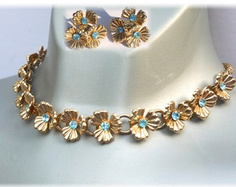 Necklace & Earrings Set,40s-50s Choker and Earrings,Vintage Demi Parure,Screw Back Earrings,Aqua Rhinestone Necklace, Something Blue,For Her