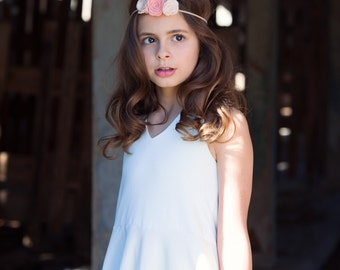 Flower and feather crown - newborn through adult - felt, glitter and faux leather -  boho headband