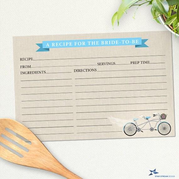 printable tandem blue bicycle recipe card bridal wedding shower 6
