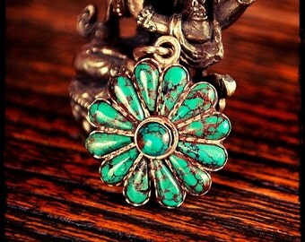 Flower Pendant with Turquoise