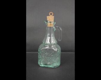 A Vintage of Fine Clear Glass SUN & Moon Soy Sauce Bottle