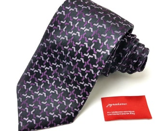 Silk Tie in Raspberry Cassis Purple Iris Violetta Lilac and Black